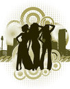 Woman silhouettes with retro urban background Stock Photo