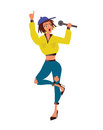 Woman singer with microphone in hand. Vector illustration, on white background.