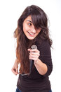 Woman singing in studio young Stock Photography