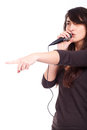 Woman singing in studio young Stock Photo