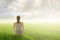 Woman sit on grassland Royalty Free Stock Photo