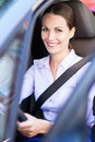 Woman sitting in car young Stock Photos