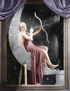Woman sitting on crescent moon with bow and arrow Royalty Free Stock Photo