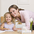 Woman Sitting with Daughter Royalty Free Stock Photo