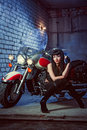 Woman Is Sitting On The Motorcycle Royalty Free Stock Photography
