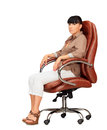 Woman sitting in office chair over white Stock Photo