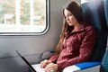 Woman is sitting in the train Royalty Free Stock Photo