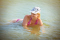 Woman sitting in the wate beautiful water Stock Photo