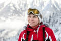 The woman in ski glasses Royalty Free Stock Photo