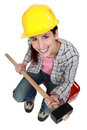 Woman with sledge-hammer Stock Photo