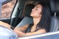 Woman sleeping in car Royalty Free Stock Photo