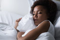 Woman sleeping in her bed Royalty Free Stock Photo