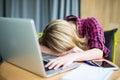 Woman sleeping office worker break digital device concept