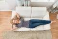 Woman Sleeping On Sofa Royalty Free Stock Photo