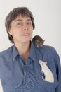 Woman with small rats Royalty Free Stock Photography