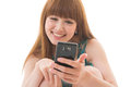 Woman and smart phone Royalty Free Stock Image