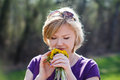 Woman smell dandelion outdoor nature Stock Photos