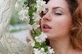 Woman smell tree flower Royalty Free Stock Photo