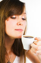 Woman smelling her cup of coffee Royalty Free Stock Photo