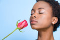 Woman smelling rose Stock Photos