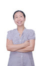 Woman smile and looking up pretty asian over white Royalty Free Stock Photos