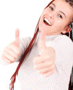 Woman smiling her thumbs up Royalty Free Stock Photo