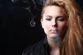 Woman with smoke Royalty Free Stock Photo