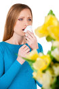 Woman sneezing young holding handkerchief near face and while standing isolated on white Stock Image