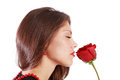 Woman sniffs red rose beautiful with closed eyes isolated on white background Stock Photo