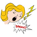 Woman Snoring Loudly Cartoon