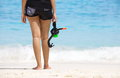 Woman with a snorkel standing on sand beach Royalty Free Stock Photo