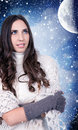Woman, snow, night, moon Stock Images