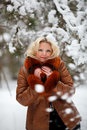 Woman in snow winter forest Royalty Free Stock Image
