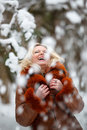 Woman in snow winter forest Royalty Free Stock Photography