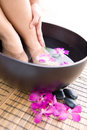 Woman soaking feet in bowl of water Royalty Free Stock Photo