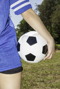 Woman with soccer ball portrait of Royalty Free Stock Images