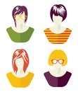 Woman social network avatar collection vector illustrations of the Stock Photos