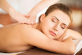 Woman in spa beauty and concept beautiful salon getting massage Stock Images