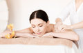 Woman in spa picture of salon getting massage Stock Photo