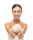 Woman with sparkling ball Royalty Free Stock Photo