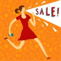 Woman with speach balloon sale illustration running lady speech cartoon poster about perfect to place your text Royalty Free Stock Image