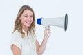 Woman speaking through a loudspeaker Royalty Free Stock Photo