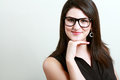Woman in spectacles closeup picture of lovely Royalty Free Stock Photos