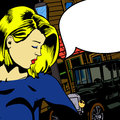 Woman with speech bubble background illustration of a face comic book and a building and an old car on the background Royalty Free Stock Images