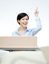 Woman speech maker at the podium Royalty Free Stock Images