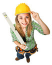 Woman with spirit level Stock Image