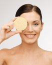 Woman with sponge bright picture of beautiful Stock Image