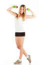 Woman in sports clothes on white Royalty Free Stock Photos