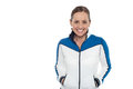 Woman in sporty jacket smiling warmly Stock Image