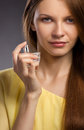 Woman spraying perfume Royalty Free Stock Photo